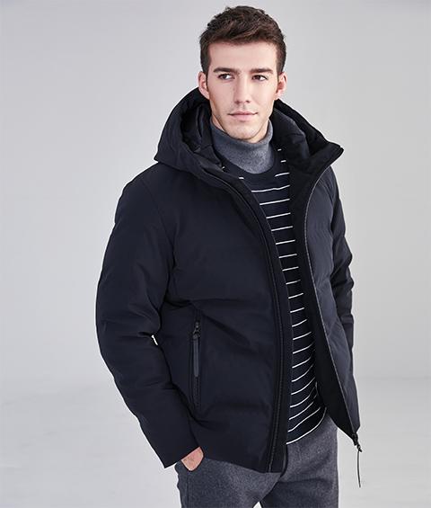 AAAA32 Mens Urban Basic Hoodie Short Down Jacket 1