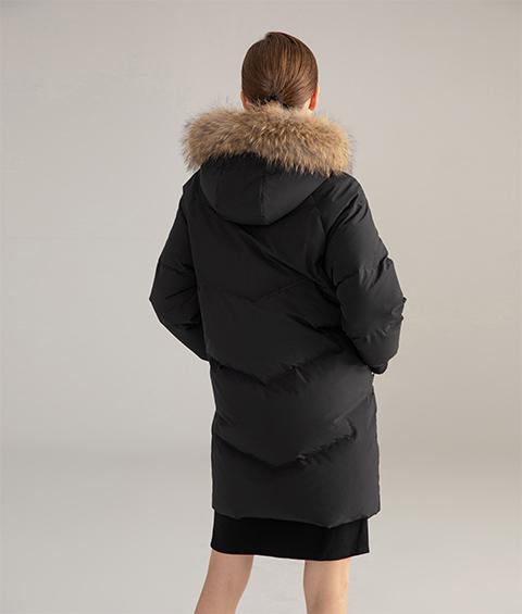 AAAATB19688 027 Womens Urban Casual Hoodie Fur Collar Mid Length Down Jacket 1