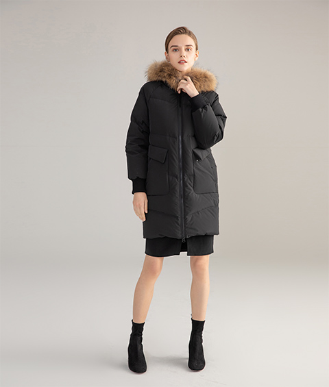 AAAATB19688 027 Womens Urban Casual Hoodie Fur Collar Mid Length Down Jacket 2