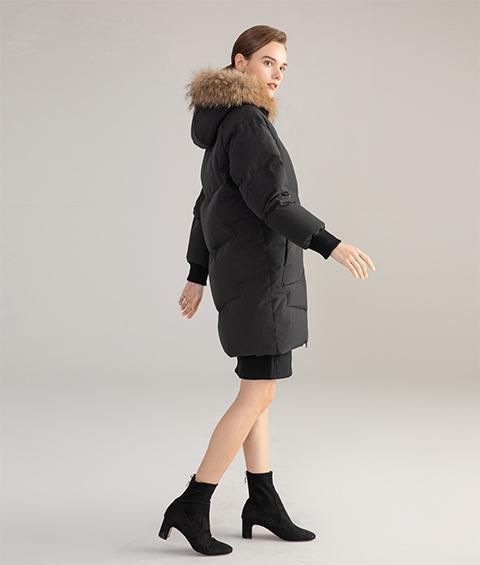 AAAATB19688 027 Womens Urban Casual Hoodie Fur Collar Mid Length Down Jacket 4
