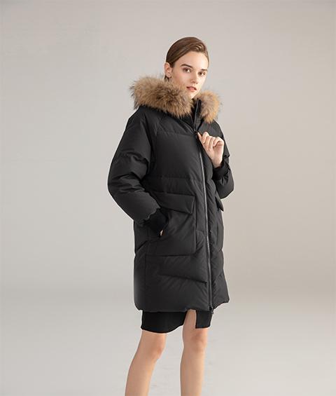 AAAATB19688 027 Womens Urban Casual Hoodie Fur Collar Mid Length Down Jacket 5