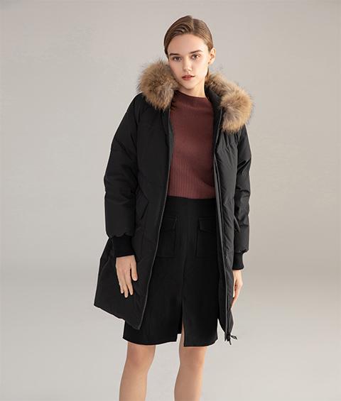 AAAATB19688 027 Womens Urban Casual Hoodie Fur Collar Mid Length Down Jacket 6