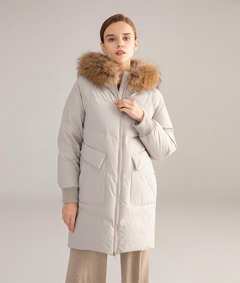 AAAATB19688 7033 Womens Urban Casual Hoodie Fur Collar Mid Length Down Jacket 1