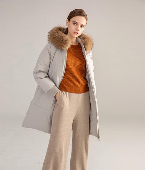 AAAATB19688 7033 Womens Urban Casual Hoodie Fur Collar Mid Length Down Jacket 2