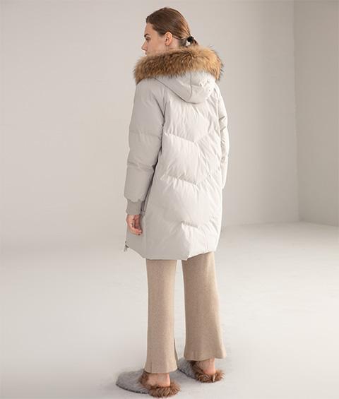 AAAATB19688 7033 Womens Urban Casual Hoodie Fur Collar Mid Length Down Jacket 3