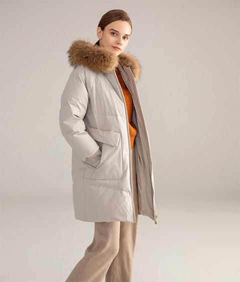AAAATB19688 7033 Womens Urban Casual Hoodie Fur Collar Mid Length Down Jacket 4