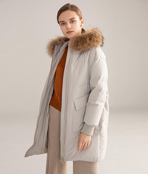 AAAATB19688 7033 Womens Urban Casual Hoodie Fur Collar Mid Length Down Jacket 5