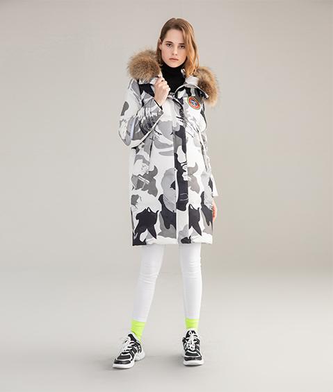 AAAATB19688 8183 Womens Urban Casual Hoodie Fur Collar Mid Length Down Jacket 1