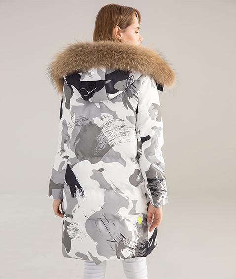 AAAATB19688 8183 Womens Urban Casual Hoodie Fur Collar Mid Length Down Jacket 2