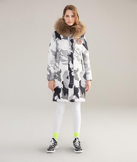 AAAATB19688 8183 Womens Urban Casual Hoodie Fur Collar Mid Length Down Jacket 3