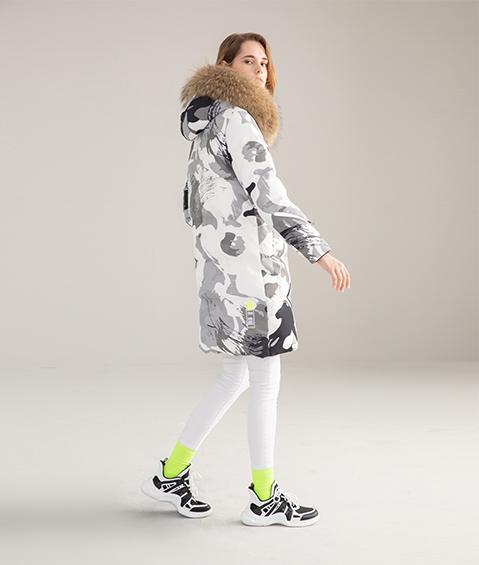 AAAATB19688 8183 Womens Urban Casual Hoodie Fur Collar Mid Length Down Jacket 4