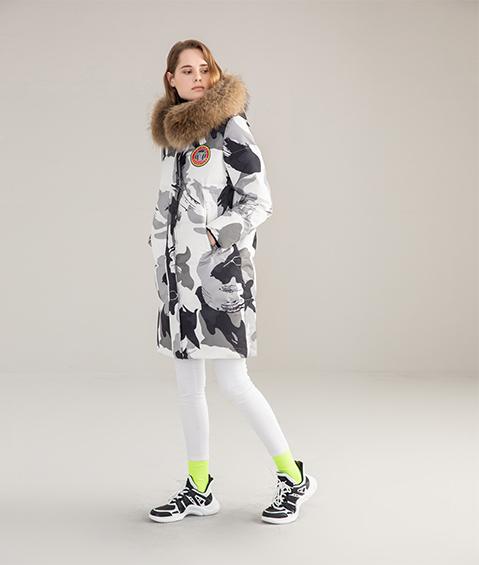 AAAATB19688 8183 Womens Urban Casual Hoodie Fur Collar Mid Length Down Jacket 5