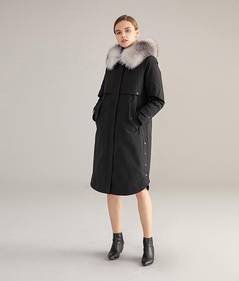 AAAA MG 1346 Womens Urban Casual Mink Fur Collar Wrinkle resistant Long Goose Down Coat 1