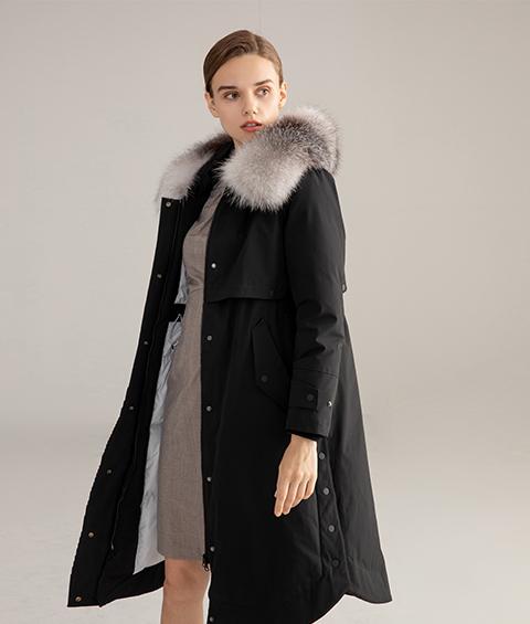 AAAA MG 1346 Womens Urban Casual Mink Fur Collar Wrinkle resistant Long Goose Down Coat 2