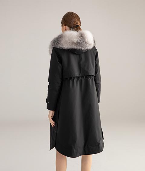 AAAA MG 1346 Womens Urban Casual Mink Fur Collar Wrinkle resistant Long Goose Down Coat 3