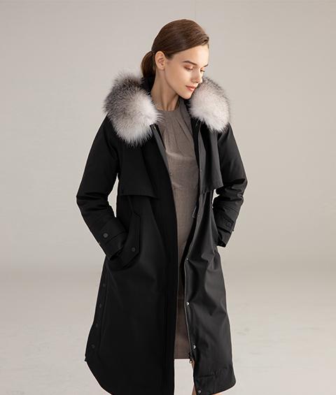 AAAA MG 1346 Womens Urban Casual Mink Fur Collar Wrinkle resistant Long Goose Down Coat 4