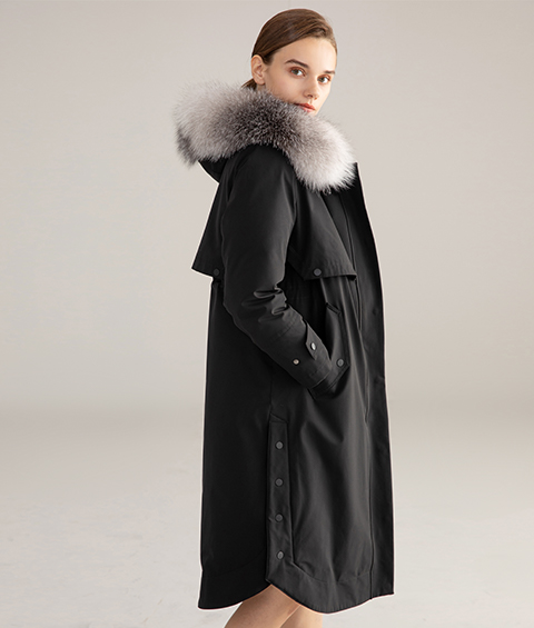 AAAA MG 1346 Womens Urban Casual Mink Fur Collar Wrinkle resistant Long Goose Down Coat 5