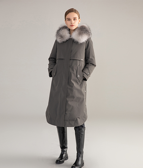 AAAA MG 1586 Womens Urban Casual Mink Fur Collar Wrinkle resistant Long Goose Down Coat 1