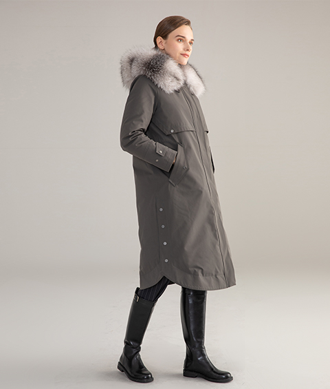 AAAA MG 1586 Womens Urban Casual Mink Fur Collar Wrinkle resistant Long Goose Down Coat 2