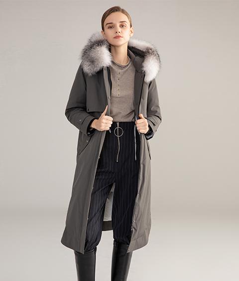 AAAA MG 1586 Womens Urban Casual Mink Fur Collar Wrinkle resistant Long Goose Down Coat 3