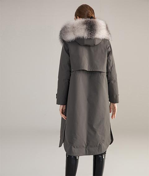 AAAA MG 1586 Womens Urban Casual Mink Fur Collar Wrinkle resistant Long Goose Down Coat 5
