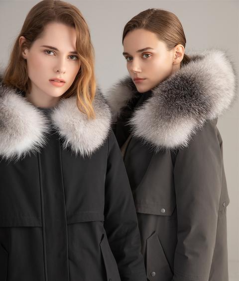 AAAA MG 1630 Womens Urban Casual Mink Fur Collar Wrinkle resistant Long Goose Down Coat 2