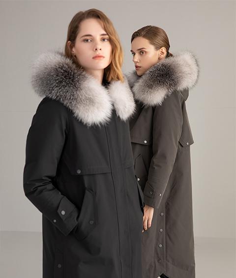 AAAA MG 1630 Womens Urban Casual Mink Fur Collar Wrinkle resistant Long Goose Down Coat 3